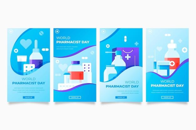Gradientowa kolekcja opowiadań na instagram dzień farmaceuty