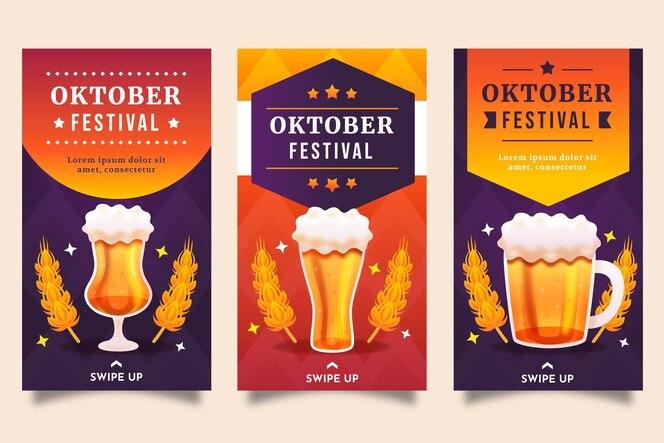 Gradientowa kolekcja opowiadań na instagramie oktoberfest