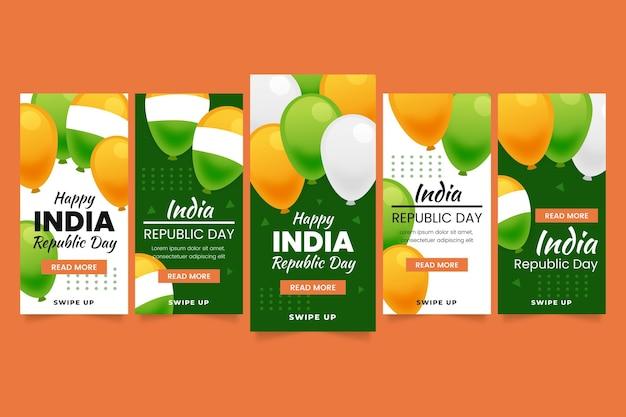 Gradientowa kolekcja opowiadań na instagramie z okazji dnia niepodległości w indiach