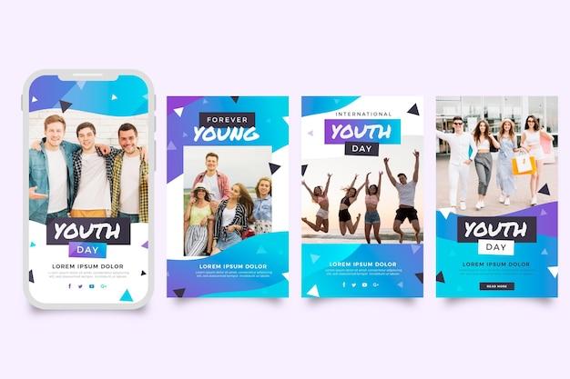 Gradientowa kolekcja opowiadań na instagramie z okazji międzynarodowego dnia młodzieży ze zdjęciem