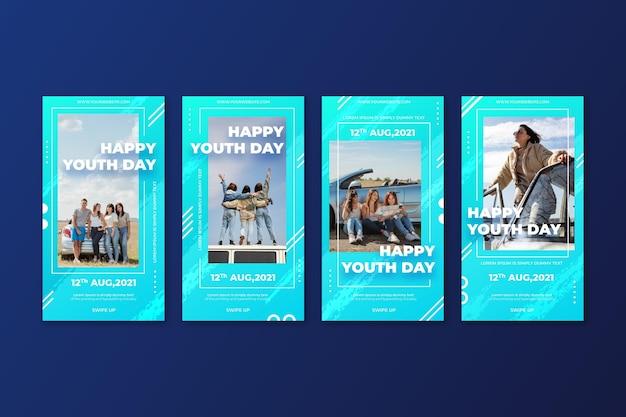 Gradientowa kolekcja opowiadań o międzynarodowym dniu młodzieży ze zdjęciem