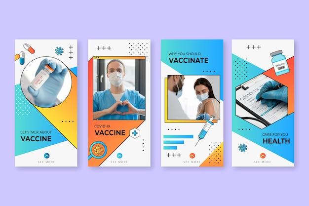 Gradientowa kolekcja opowiadań o szczepionkach na instagramie ze zdjęciami
