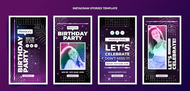 Gradientowa kolekcja opowiadań urodzinowych na instagramie w stylu retro vaporwave