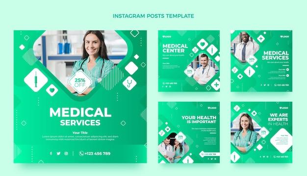 Gradientowa kolekcja postów medycznych na instagramie