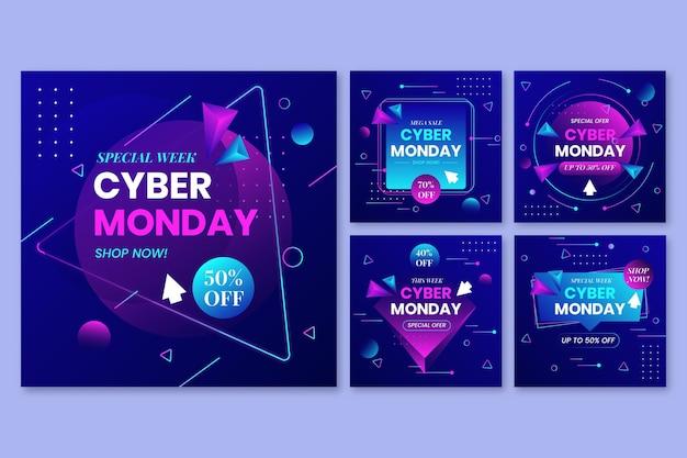 Gradientowa kolekcja postów na instagramie cyber poniedziałek