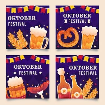 Gradientowa kolekcja postów na instagramie oktoberfest
