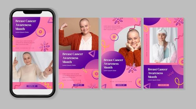 Gradientowa kolekcja postów na instagramie w miesiącu świadomości raka piersi
