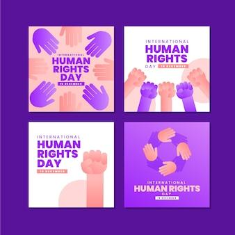 Gradientowa kolekcja postów na instagramie z okazji międzynarodowego dnia praw człowieka