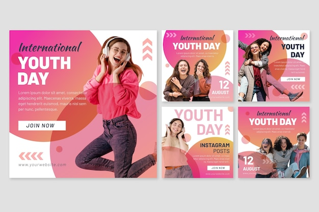 Gradientowa kolekcja postów z międzynarodowego dnia młodzieży ze zdjęciem