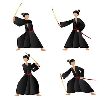 Gradientowa kolekcja samurajów zilustrowana
