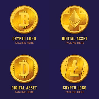 Gradientowa kolekcja szablonów logo bitcoin