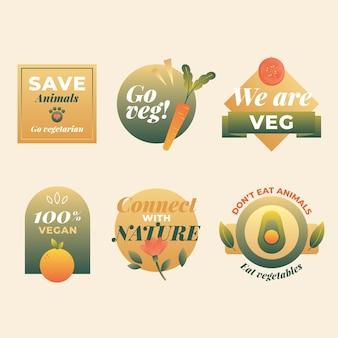 Gradientowa kolekcja wegetariańskich etykiet żywności
