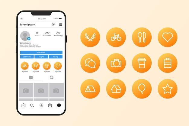 Gradientowa kolekcja wyróżnień aplikacji instagram