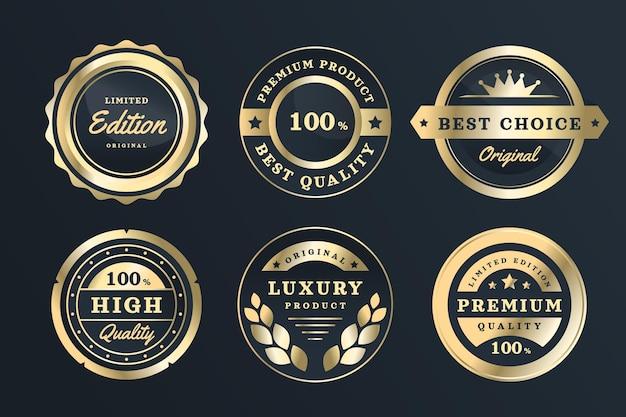 Gradientowa kolekcja złotych luksusowych etykiet