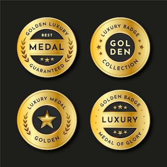 Gradientowa kolekcja złotych luksusowych odznak