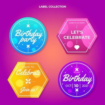 Gradientowa kolorowa etykieta urodzinowa i odznaki