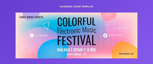 Gradientowa Kolorowa Okładka Festiwalu Muzycznego Na Facebooku Darmowych Wektorów