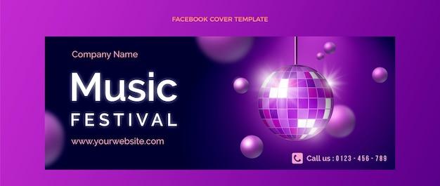 Gradientowa kolorowa okładka festiwalu muzycznego na facebooku