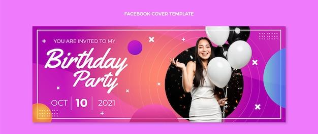 Gradientowa kolorowa okładka na facebooka na urodziny