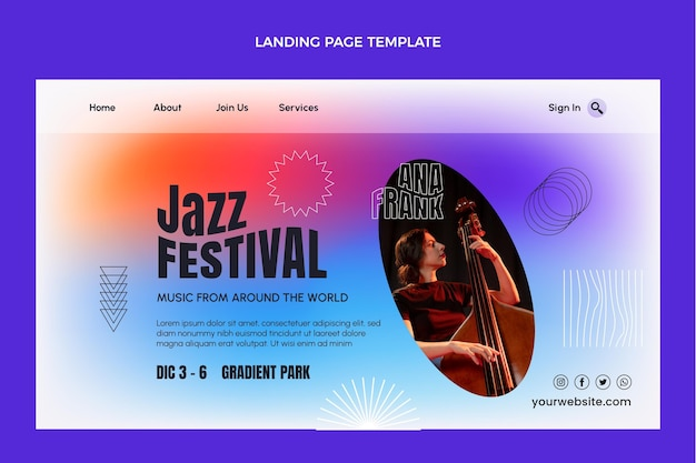 Gradientowa kolorowa strona docelowa festiwalu muzycznego