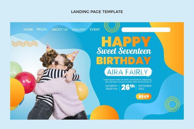 Gradientowa kolorowa strona docelowa urodzin