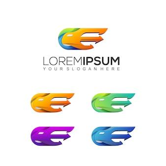 Gradientowa litera e szablonu logo orła