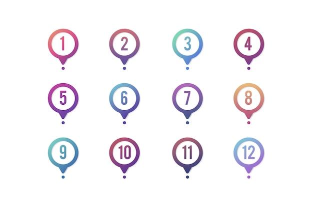 Gradientowa mapa pinezki z liczbami