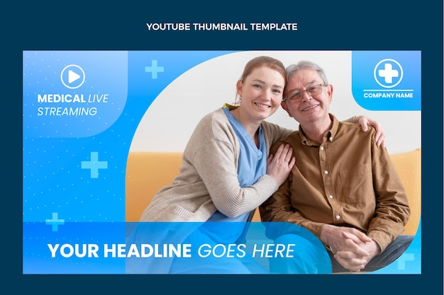 Gradientowa medyczna miniatura youtube