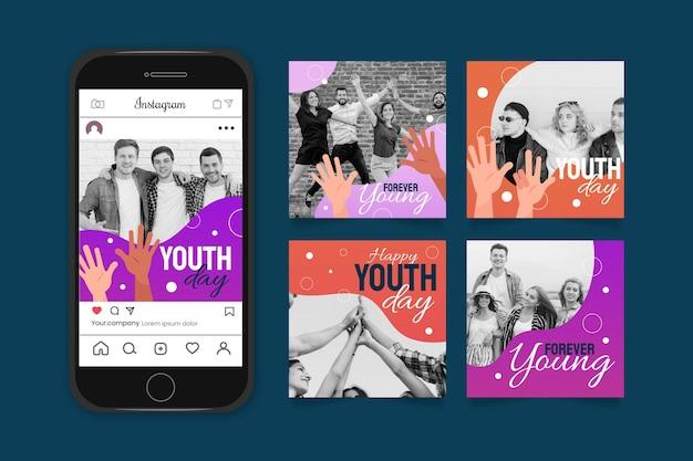 Gradientowa międzynarodowa kolekcja postów z okazji dnia młodzieży ze zdjęciem