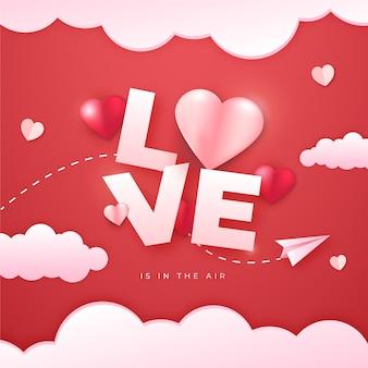 Gradientowa miłość kolorowa ilustracja projektowa