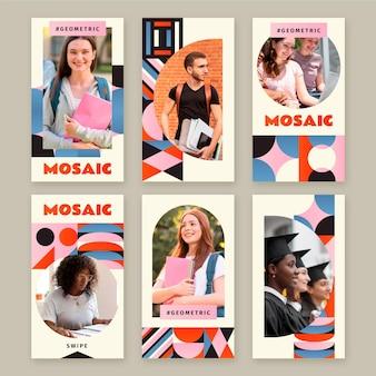 Gradientowa mozaikowa kolekcja opowiadań na instagramie ze zdjęciem