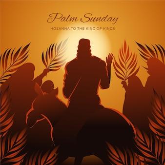Gradientowa niedziela palmowa ilustracja z jezusem i osłem