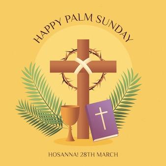 Gradientowa niedziela palmowa ilustracja z krzyżem