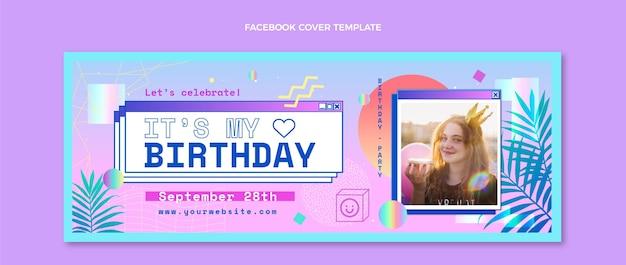 Gradientowa okładka na facebooka z okazji urodzin vaporwave