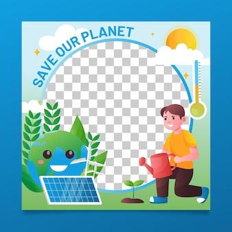 Gradientowa ramka na facebooku dotycząca zmian klimatycznych