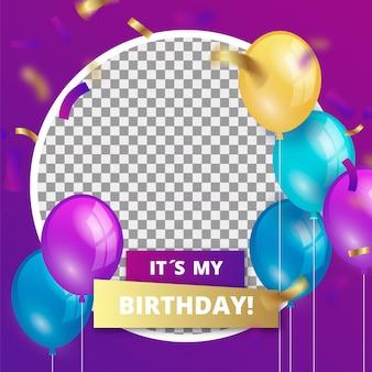 Gradientowa ramka urodzinowa na facebooku na zdjęcie profilowe