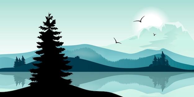 Gradientowa sceneria jeziora