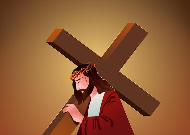 Gradientowa semana ilustracja santa z jezusem niosącym krzyż