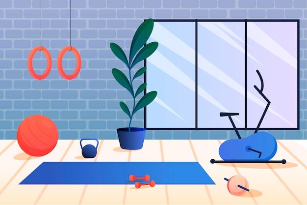 Gradientowa siłownia domowa z różnymi elementami