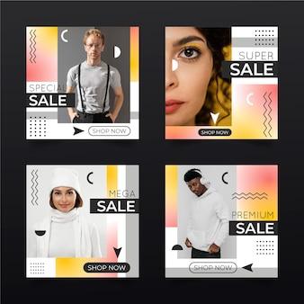 Gradientowa sprzedaż instagram post pack