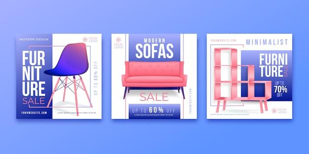 Gradientowa sprzedaż mebli na instagramie kolekcja postów