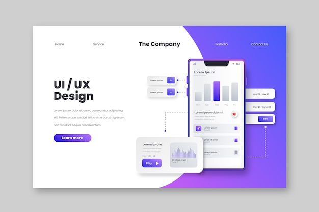 Gradientowa strona docelowa interfejsu użytkownika/ux