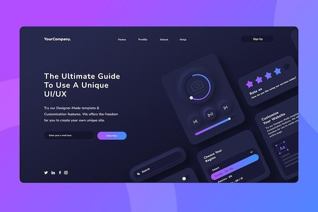Gradientowa strona docelowa interfejsu użytkownika ux