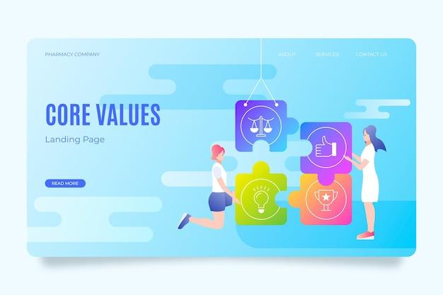 Gradientowa strona docelowa podstawowych wartości