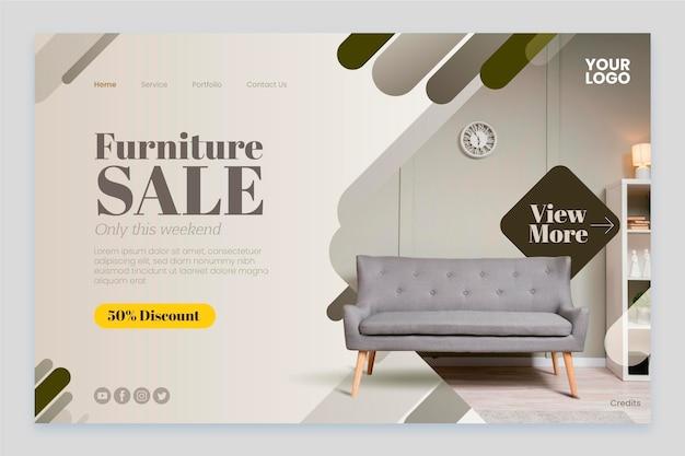 Gradientowa strona docelowa sprzedaży mebli ze zdjęciem