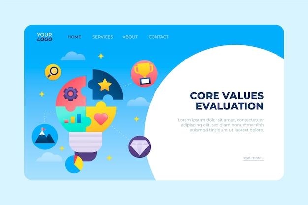 Gradientowa strona docelowa wartości podstawowych z żarówką