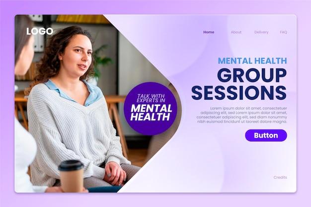 Gradientowa strona docelowa zdrowia psychicznego ze zdjęciem