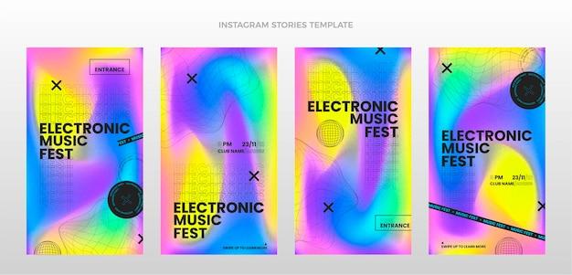 Gradientowa tekstura festiwalu muzycznego historie na instagramie