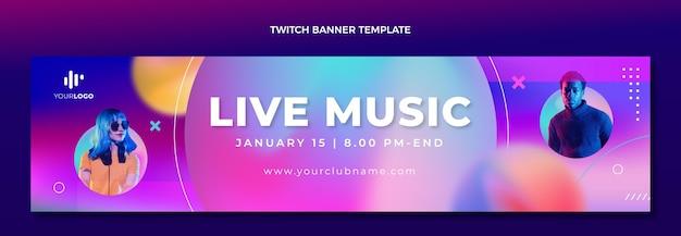 Gradientowa tekstura festiwalu muzycznego twitch banner