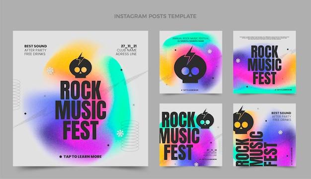Gradientowa tekstura festiwalu muzyki na instagramie post